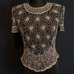 Papelle Boutique Evening Silk Beaded Daisy Top
